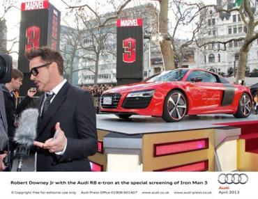 Iron Man 3 special screening features the Audi R8 E-tron and some guy named Robert Downey Junior