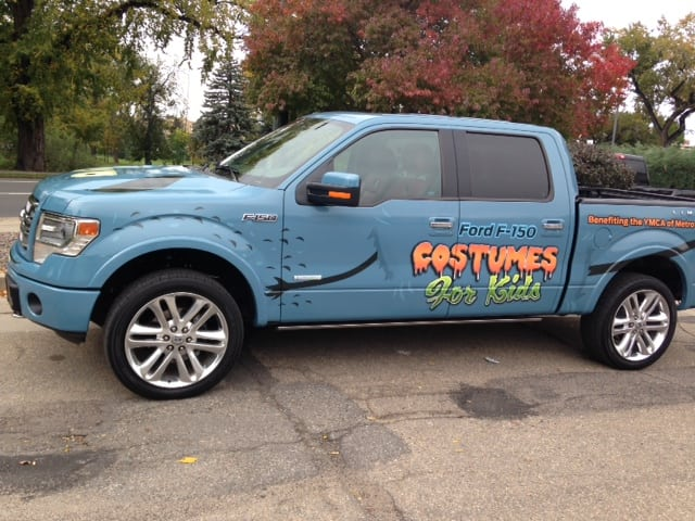 Ford F150 Monster Truck collects and distributes Halloween costumes to needy kids in Colorado