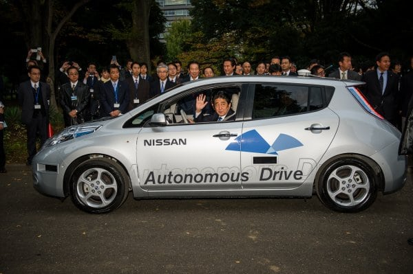 Prime Minister of Japan rides in first Autonomous Drive public road test for Nissan LEAF