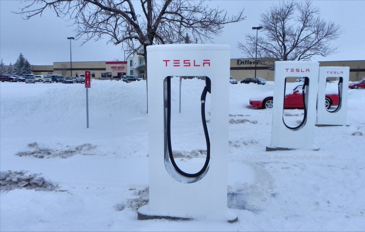 Cheyenne Tesla Supercharger stations in winter