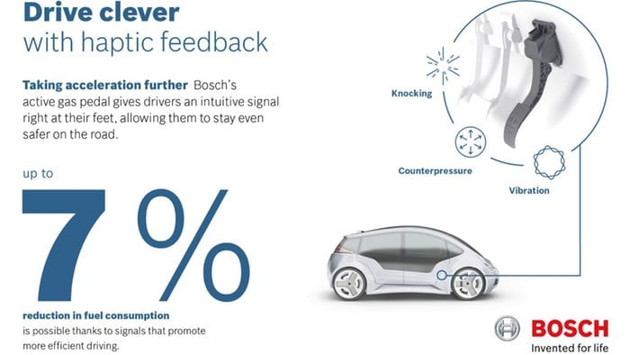 Bosch claims 7% fuel savings with haptic feedback gas pedal