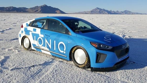 Shot of nitrous propels Hyundai Ioniq hybrid to land speed record at Bonneville