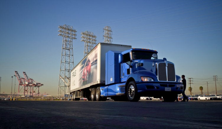 Toyota Project Portal Hydrogen Fuel Cell Big Truck Works the Docks