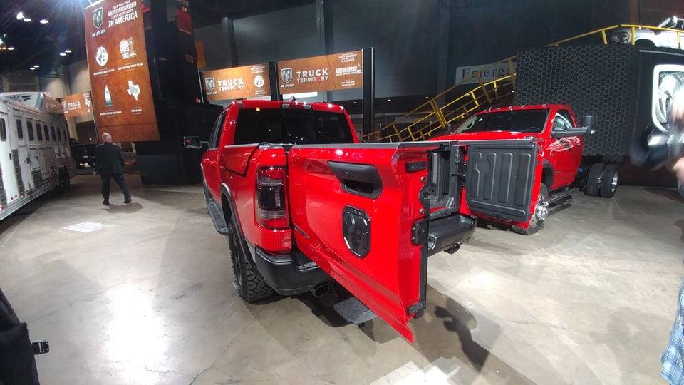 Ram 1500's new tailgate folds and swings for access with or without a trailer