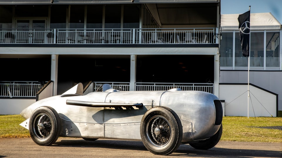 Reconstructed Mercedes 1932 SSKL silver arrow headed for Pebble Beach